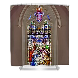 Baby Jesus Stained Glass Window Shower Curtain by Susan Candelario