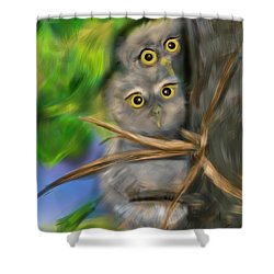 Baby Owls Shower Curtain by Christine Fournier