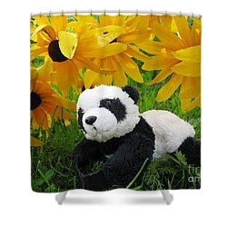 Baby Panda Under The Golden Sky Shower Curtain by Ausra Huntington nee Paulauskaite