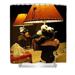 Baby Pandas In A Saddle  Shower Curtain by Ausra Huntington nee Paulauskaite
