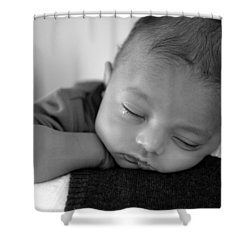 Baby Sleeps Shower Curtain by Lisa Phillips