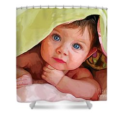 Shower Curtain featuring the painting Baby Under Blanket by Tim Gilliland