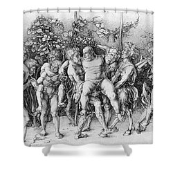 Bacchanal With Silenus - Albrecht Durer Shower Curtain
