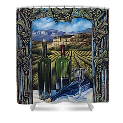 Bacchus Vineyard Shower Curtain by Ricardo Chavez-Mendez