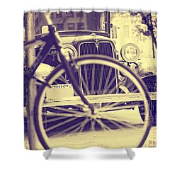 Shower Curtain featuring the digital art Back In Time by Erika Weber