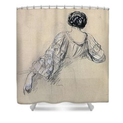 Back Of A Young Woman Shower Curtain by Antoine Auguste Ernest Herbert