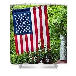Back Porch Americana Shower Curtain by Carolyn Marshall