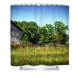 Back Road Barns Shower Curtain by Barry Jones