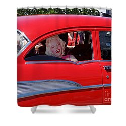 Shower Curtain featuring the photograph Back Seat Marilyn by Ed Weidman