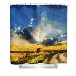 Shower Curtain featuring the painting Back To Goodbye by Joe Misrasi