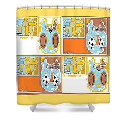 Back To School Owl Shower Curtain