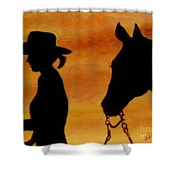 Shower Curtain featuring the painting Back To The Barn by Julie Brugh Riffey
