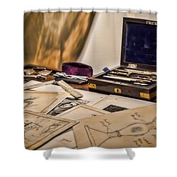 Back To The Drawing Board Shower Curtain by Heather Applegate