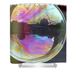 Back Yard Bubble Shower Curtain by Cathie Douglas