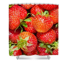 Shower Curtain featuring the photograph Background Of Strawberries by Kennerth and Birgitta Kullman