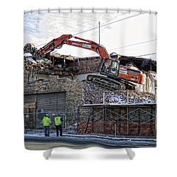Backhoe Demolition Shower Curtain by Daniel Hagerman