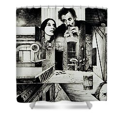 Shower Curtain featuring the drawing Backlane Serenade by Otto Rapp