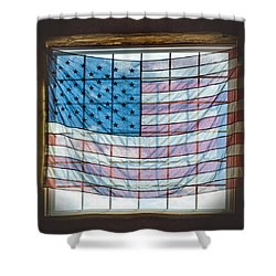 Backlit American Flag Shower Curtain