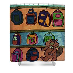 Backpacking Beaver Shower Curtain by Christy Saunders Church
