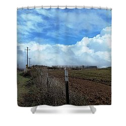 Backroads- Telephone Poles- And Barbed Wire Fences Shower Curtain