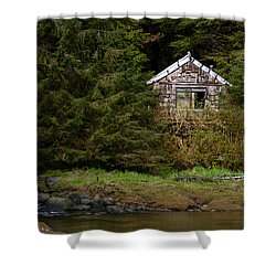 Backwoods Shack Shower Curtain by Melinda Ledsome