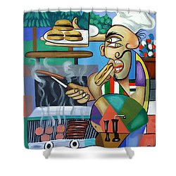 Backyard Chef Shower Curtain by Anthony Falbo