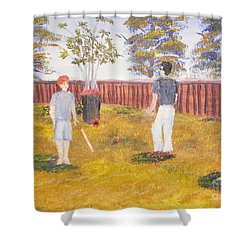 Shower Curtain featuring the painting Backyard Cricket Under The Hot Australian Sun by Pamela  Meredith