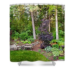 Backyard Garden In Loon Lake, Spokane Shower Curtain