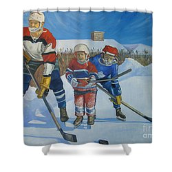 Backyard Ice Hockey Shower Curtain by Christina Clare