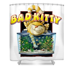 Bad Kitty Shower Curtain by Scott Ross