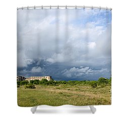 Shower Curtain featuring the photograph Bad Weather Is Coming Up At  A Medieval Castle Ruin by Kennerth and Birgitta Kullman