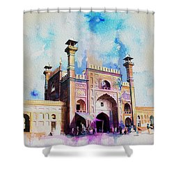 Badshahi Mosque Gate Shower Curtain by Catf