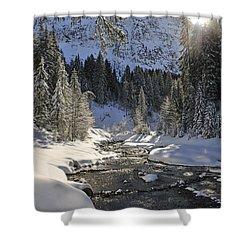 Baergunt Valley Kleinwalsertal Austria In Winter Shower Curtain by Matthias Hauser