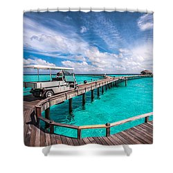 Baggy On The Jetty Over The Blue Lagoon Shower Curtain