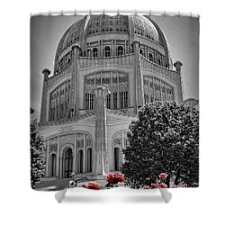 Bahai Temple Wilmette In Black And White Shower Curtain by Rudy Umans