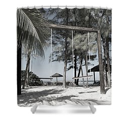 Shower Curtain featuring the photograph Bahamas Swings by Bob Sample