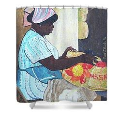 Bahamian Woman Weaving Shower Curtain by Frank Hunter
