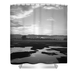 Shower Curtain featuring the photograph Bakersfield In Black And White by Meghan at FireBonnet Art