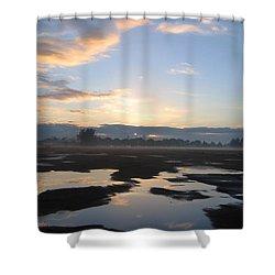 Bakersfield Sunrise Shower Curtain by Meghan at FireBonnet Art