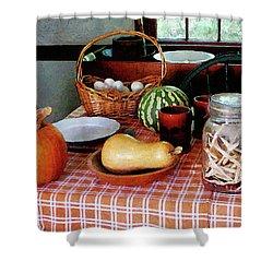 Baking A Squash And Pumpkin Pie Shower Curtain by Susan Savad