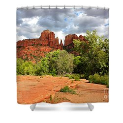 Balance At Cathedral Rock Shower Curtain by Carol Groenen