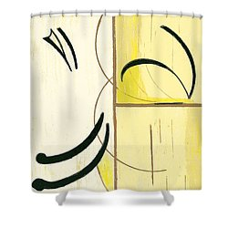 Shower Curtain featuring the mixed media Balance by Mary Bedy