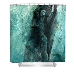 Shower Curtain featuring the drawing Balance With Mood Texture by Paul Davenport