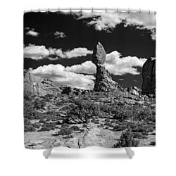 Shower Curtain featuring the photograph Balanced Rock by Larry Carr