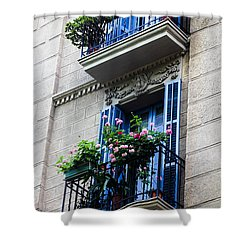 Balconies In Bloom Shower Curtain by Menachem Ganon