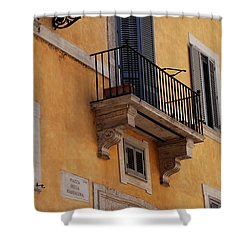 Shower Curtain featuring the photograph Balcony Piazza Della Madallena In Roma by Dany Lison