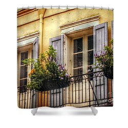 French Quarter Balcony Shower Curtain by Valerie Reeves
