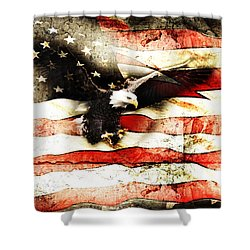 Bald Eagle Bursting Thru Flag Shower Curtain