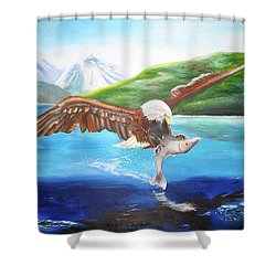 Shower Curtain featuring the painting Bald Eagle Having Dinner by Thomas J Herring