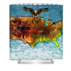 Bald Eagle U.s. Map Shower Curtain by Daniel Janda